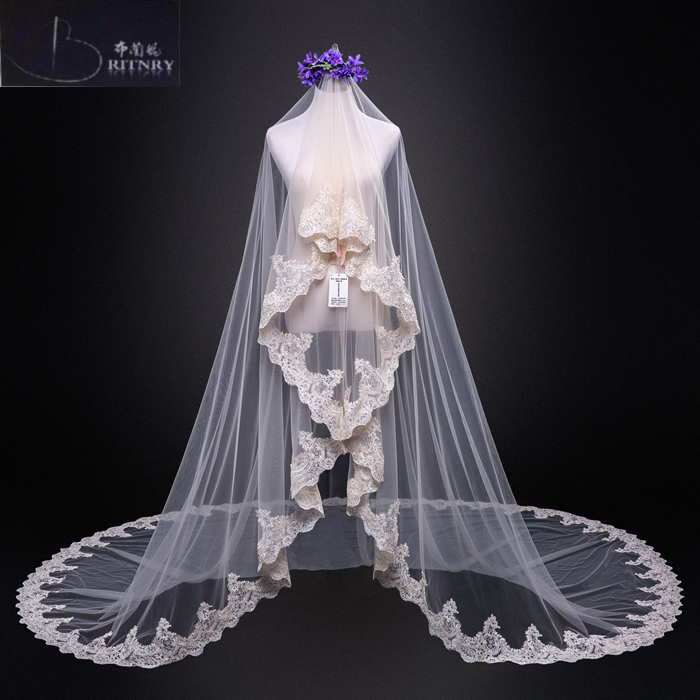 Voile Mariage One Layer Lace Edge Champagne Cathedral Wedding Veil Long Bridal Veil Cheap Wedding Accessories