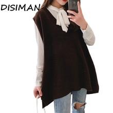 дешево!  Свободный свитер DISIMAN Свободный свитер Жилет зимняя одежда для женщин Школьные жилеты Глубокий