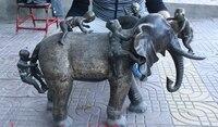 34 Старый Китай Фэншуй Бронзовый Медь детская поездка статуя слона Скульптура