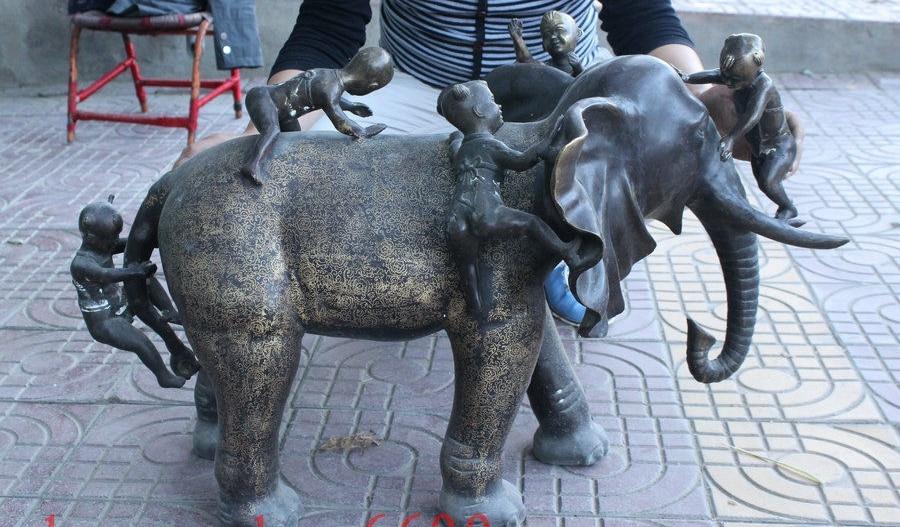 34 Old China Fengshui Bronze Copper Kid Children Ride Elephant Statue Sculpture