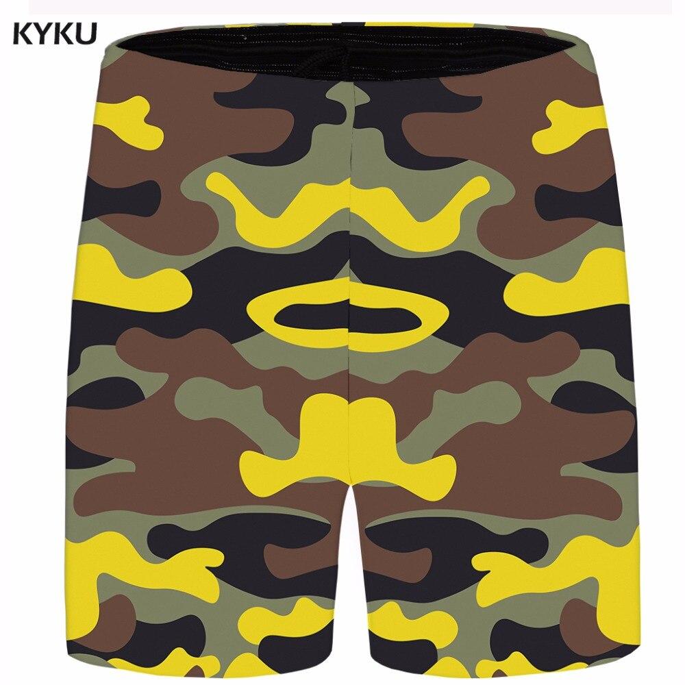 KYKU Brand Camo Short Men Cool Cargo Shorts Vintage Beach 3d Printed Casual Shorts Military Mens Short 2018 New Summer Fashion