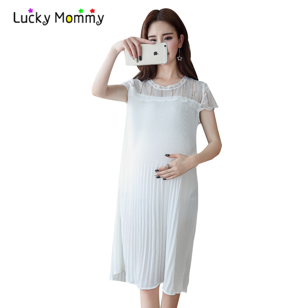 2017 Summer Elegant Lace Maternity Clothes Chiffon Stitching Pleated Maternity Dress Casual Pregnancy Clothing