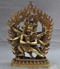Christmas gifts  tibet buddhism temple Joss brass 3 Head 6 Arms Hevajra Couples buddha statue