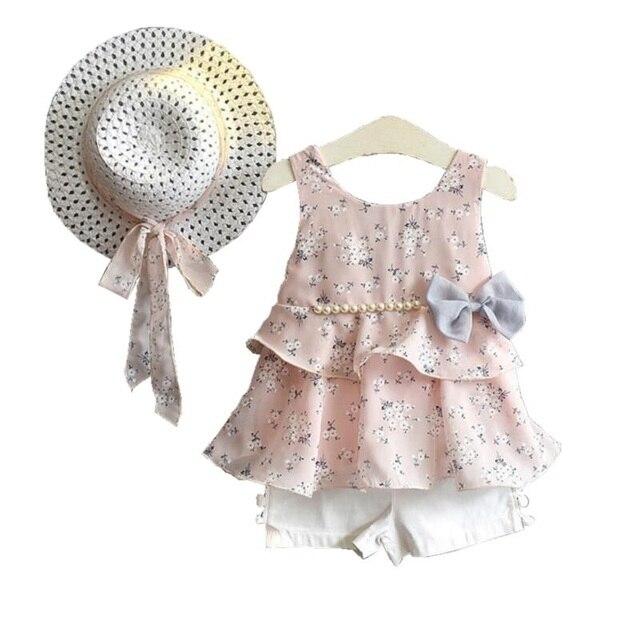 b6d1e433686ea 2018 été bébé fille vêtements ensemble filles vêtements ensemble robe d été  sans manches Floral
