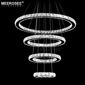 Image 5 - Cristal suspendu composé de 4 anneaux lumineux, en acier inoxydable, luminaire décoratif décoratif de plafond, composé de 4 anneaux lumineux, luminaire de plafond, idéal pour un salon ou une salle à manger, pendentif led