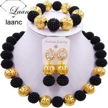 Laanc чёрный искусственный жемчуг бусины Африканский ювелирный набор нигерийские Свадебные Z6JQ018 ожерелье наборы браслет серьги для женщин