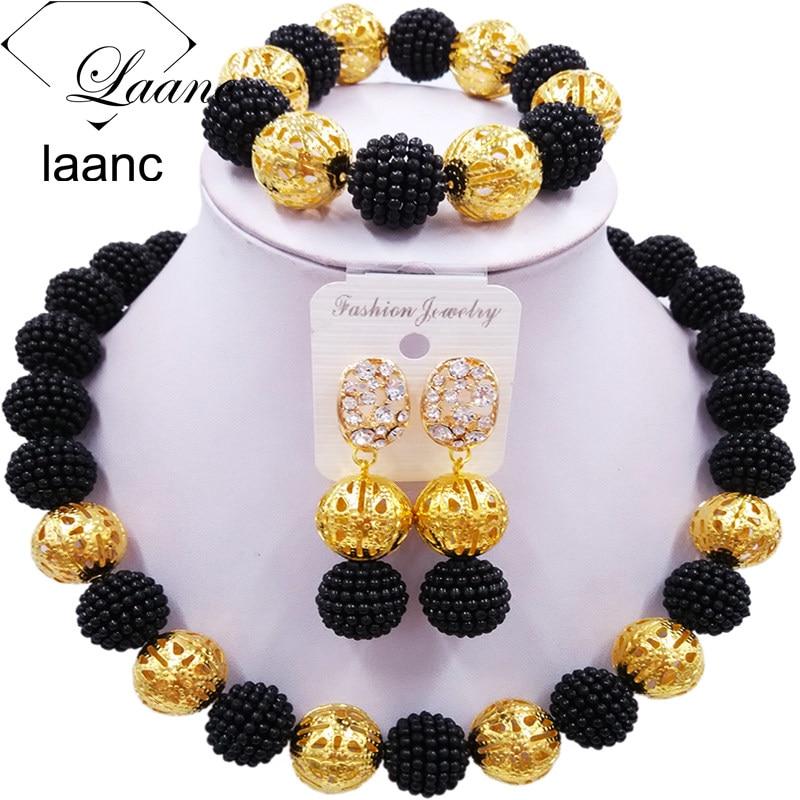 laanc Black Imitation Pearl Beads African JewelrySet 2017 Nigerian Wedding Z6JQ018 Necklace Sets Bracelet Earrings for Womens