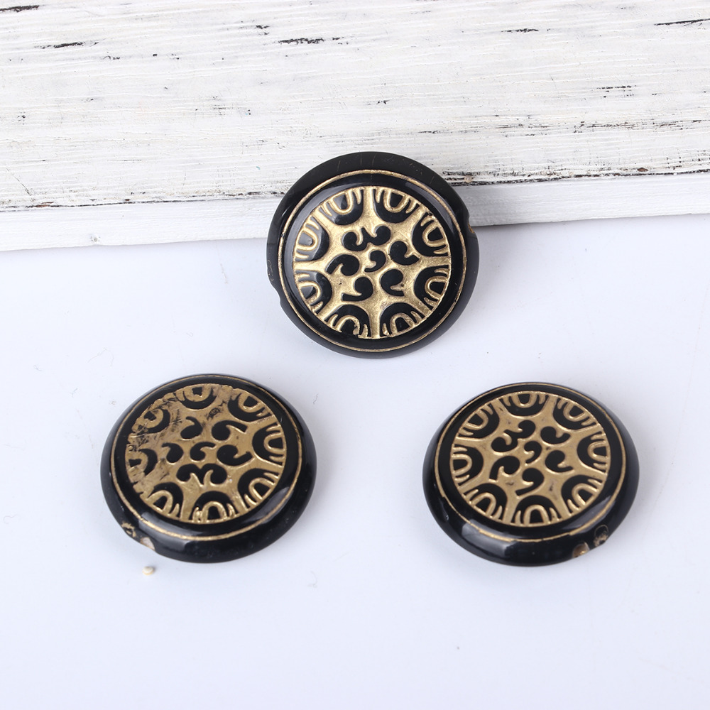 DoreenBeads Acrylic Black Spacer Round Carved Etched Beads DIY Components About 25mm x 8mm( 3/8), Hole: Approx 1.8mm, 30 PCs
