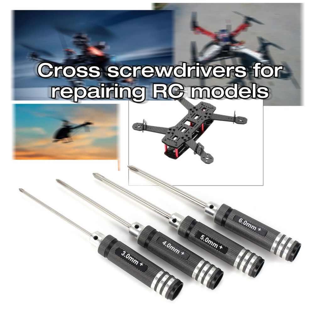 4 шт. крестовая отвертка 3,0 мм 4,0 мм 5,0 мм 6,0 мм металлический набор инструментов для радиоуправляемого вертолета гоночного автомобиля дрона модель самолета