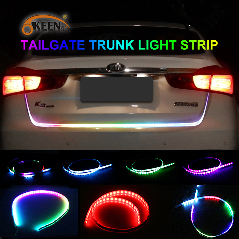 OKEEN 47.6inch car-styling turn signal strip led trunk Tailgate Light Colorful flash LED Light Bar Reverse <font><b>Tail</b></font> for car trunk