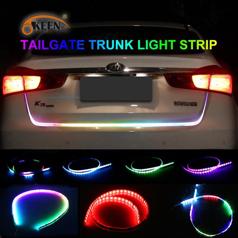 Car Tail Lights >> OKEEN car styling yellow turn signal led trunk strip Tailgate Light Colorful flash LED Light Bar ...