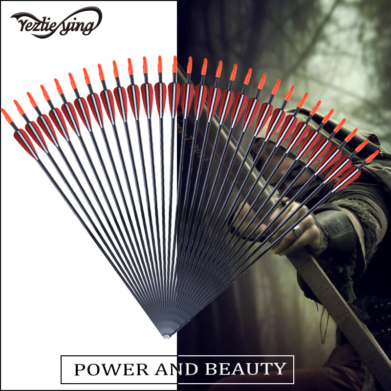 24pcs 28Inch Spine700 Fiberglass Hunting Arrow Red White Feather Child Woman Composite Recurve Bow Crossbow Hunting Archery in Bow Arrow from Sports Entertainment