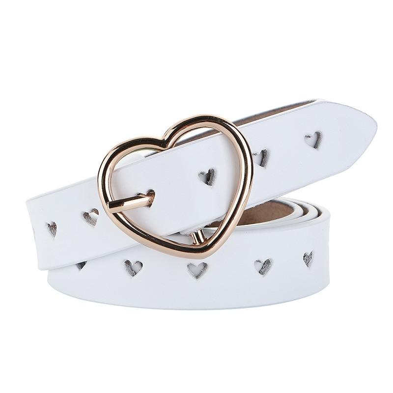 2019 Women Genuine Leather Belt Heart Metal Pin Buckles Female Hollow Heart Decor Grommet Waist Belts White Black Waistband New