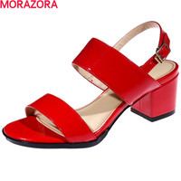 MORAZORA New Arrival Square Heels Shoes 6cm Summer Sandals Women Shoes Pu Leather Fashion Simple Leisure