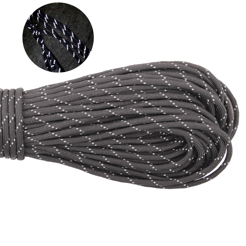 GEGEDA Reflectante Paracord 550lb 7 Strand Survival 7strand 100FT Escalada Camping supervivencia 550 paracord