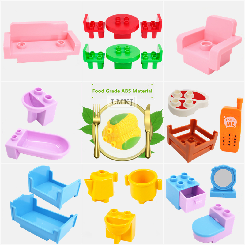 DIY Girls Bedroom Building Blocks Duploe Accessories Toys Bed Sofa Bathtub Phone Meat Corn Camera Parts Bricks
