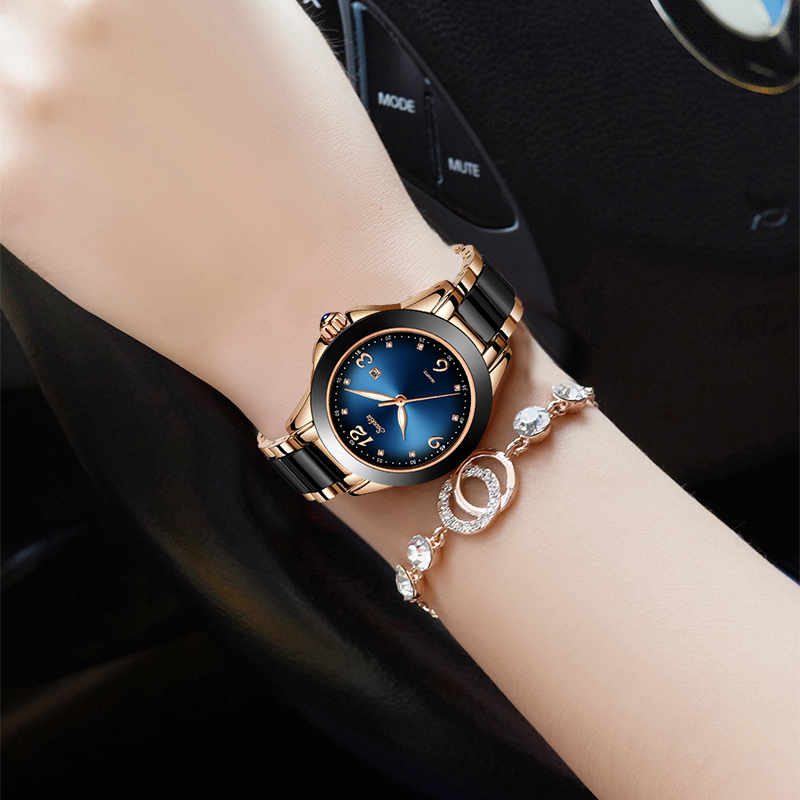 SUNKTA Elegant Fashion Women Watches Ladies Top Brand Luxury Ceramic Rhinestone Sport Quartz Watch Women Blue Waterproof Watch