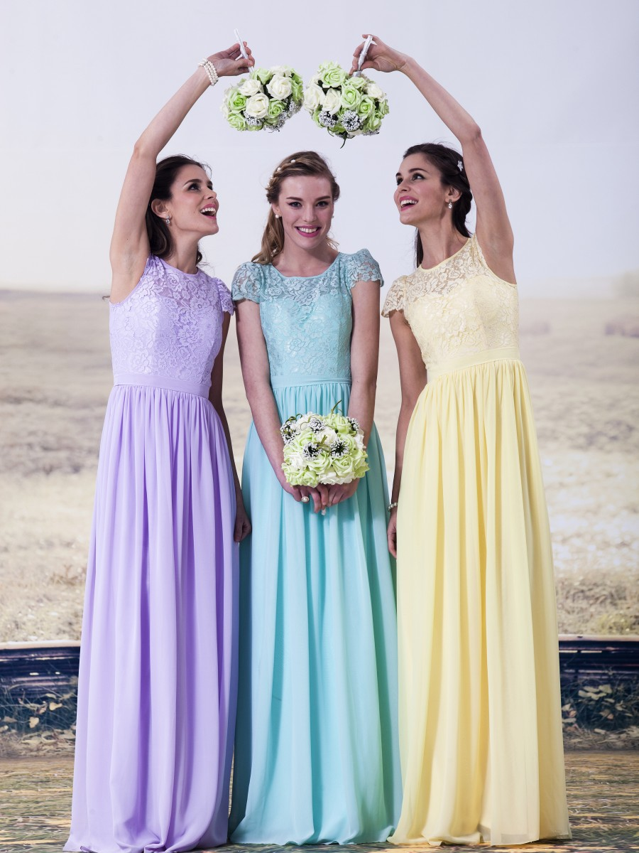 Cheap Mint Green Lilac Yellow Chiffon Long Bridesmaid Dresses Floor Length  Top Lace Wedding Party Dresses For Bridesmaids RWB07-in Bridesmaid Dresses  from ... 586c862546cb