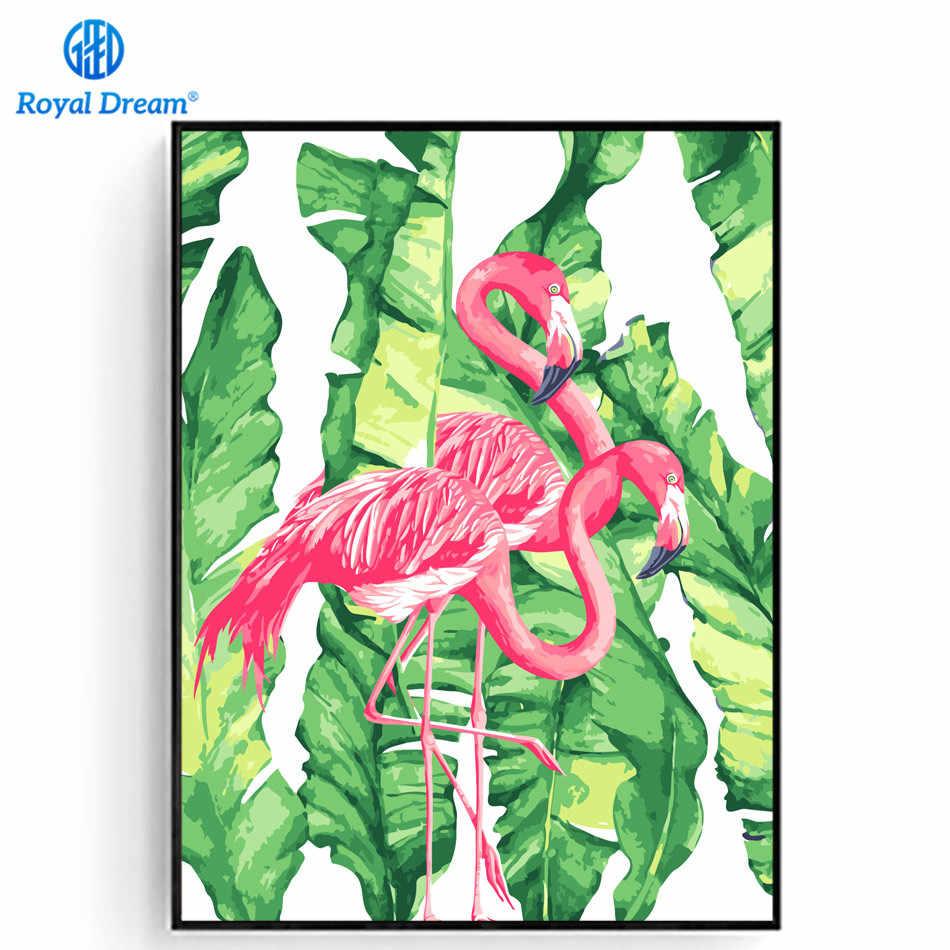 Flamingo Merah Muda Mewarnai Dengan Angka Kanvas Lukisan