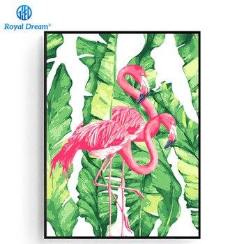 Pintura Al óleo De Flamencos Rosados Para Colorear Por