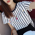 2017 new fashion simple striped short-sleeved T-shirt female