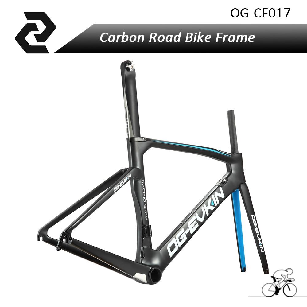 OG-EVKIN 2017 Blue/Red Aero Carbon Road Bike Frame Bicycle Bicicleta Frameset Road Bike Frames UD BB386 Matte Size 48/50/52/54cm