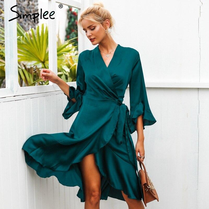 Simplee elegante mujeres satén sólido vestido Ruffle flare manga sash wrap dress 2018 Otoño Invierno V cuello sexy vestido femenino vestidos