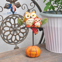 Vintage faux wood handmade painted resin owl Halloween iron owl pumpkin garden pieces resin handicraft