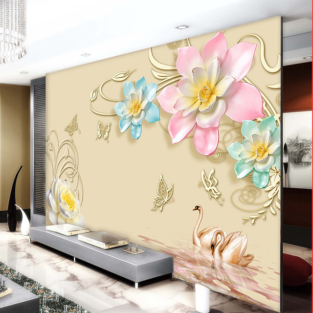 3D Abstract Pink Flower Butterfly Wall Mural Photo Wallpaper for