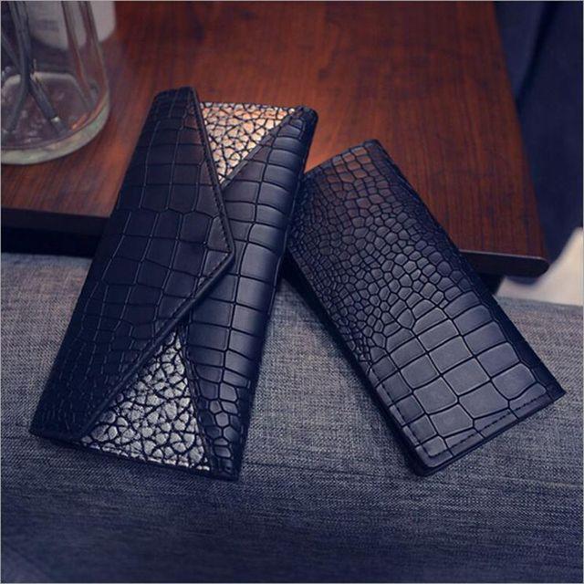 Three fold wallet Female 2017 Crocodile pattern Korean long section of women's wallet Genuine Leather Clutch Purse 22 - color ba