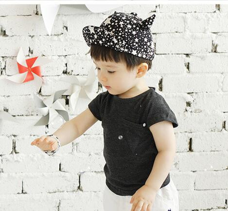 1pcs/lot free shipping cartoon style kid lovely star horn baseball cap casual summer autumn outdoor adjustable cap