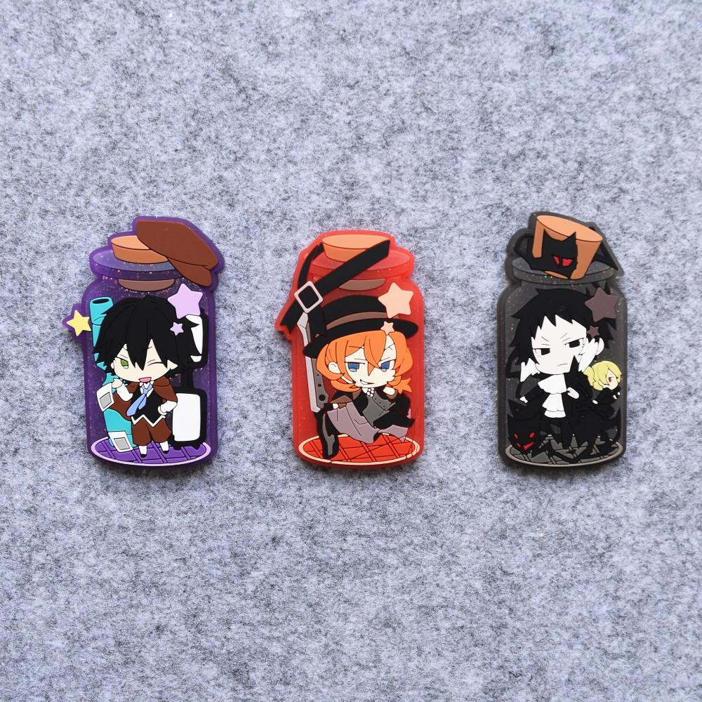 Bungo Stray Dogs Anime Edogawa Ranpo Ryunosuke Akutagawa Nakahara Chuya Rubber Resin Kawaii Fridge Magnet Accessory scarves to crochet
