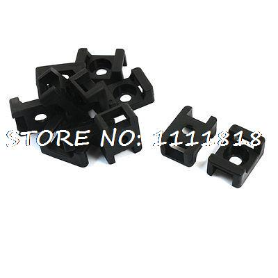 Black Saddle Shape 5mm Width Screw Mount Cable Tie Wire Holder 11Pcs