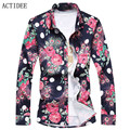 2016 new autumn high quality Man Shirt Fancy Men Casual Floral Dress Shirts plus size 7XL 6XL 3XL 4XL 5XL 2017 spring