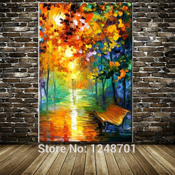 Hand Painted Modern Abstract lovers walked on the street lamp landscape oil painting wall pictures living room home wall decorHand Painted Modern Abstract lovers walked on the street lamp landscape oil painting wall pictures living room home wall decor
