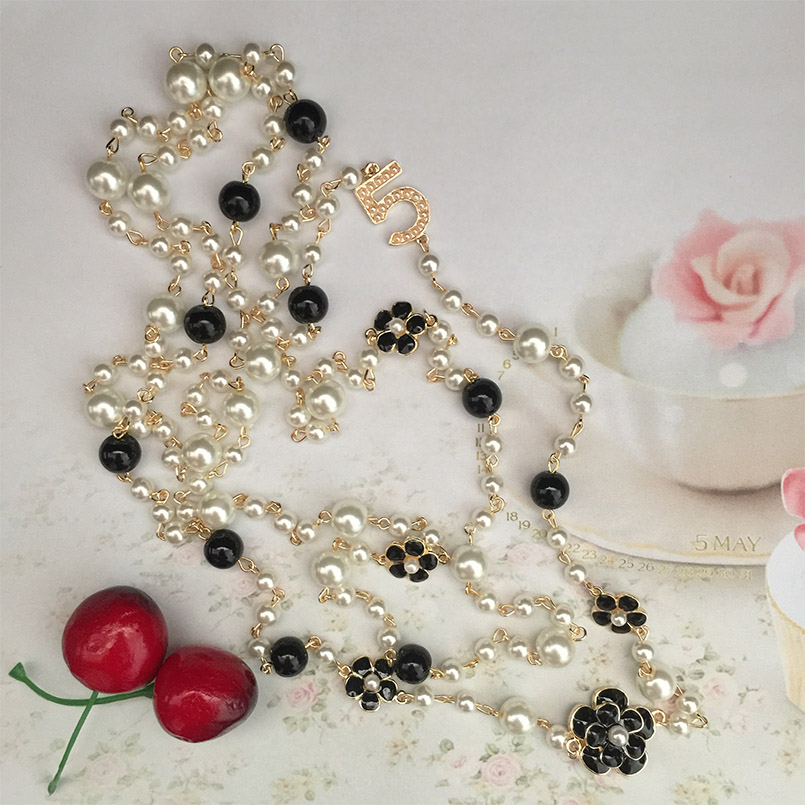 classic design gold chain number 5 Flowers Pearl necklaces Double layer Sweater necklace collier sautoir long statement jewelry