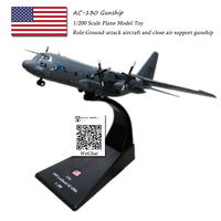 AMER 1/200 Scale AC 130 Gunship Ground attack Aircraft Fighter Diecast Metal Military Plane Model Toy For Collection/Gift