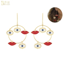 BOAKO Street Style Evil Eye Big Drop Earrings Women Girl Snap Fashion Party Jewelry  Lip of Turkey Statement Earring Z5