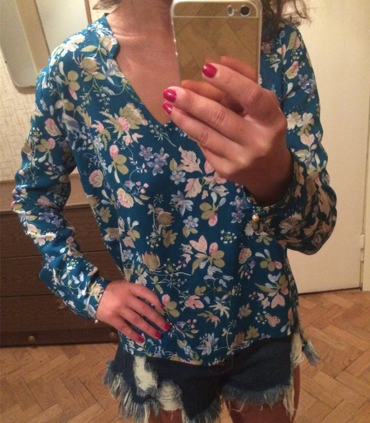 e852a877d24 YAYEYOU Женщин Старинные Цветочный Принт Блуза С Длинным Рукавом V Шеи  Случайные Свободные Плюс Размер Пуловер Хлопок Офис ClothesTops