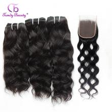 Brazilian Natural Wave 3 Bundles With Closure Natural Black Color Human Hair Weave Bundles Non-remy Free Shipping Trendy Beauty