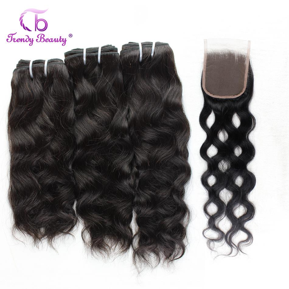 Trendy Beauty Brazilian Natural Wave Hair 3Bundles With Closure Natural Black Color Human Hair Weave Bundles Non-remy