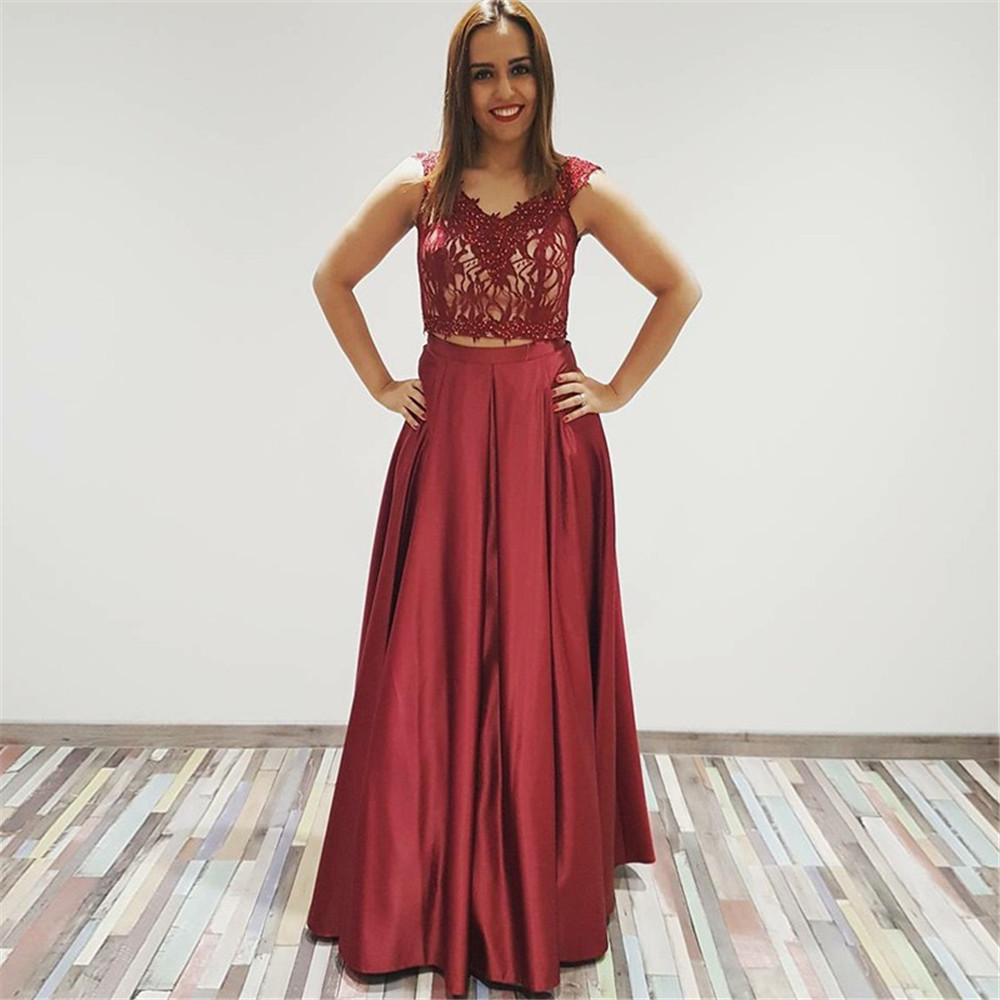 Long Burgundy 2 Piece   Prom     Dresses   Boat Neck Off The Shoulder Pearls Satin A Line Formal Evening Gowns 2019 Vestido De Fiesta