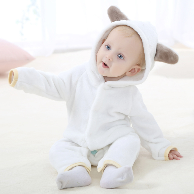 0 2 Years Old Baby Clothing Flannel Solid Color Bear Animal Shape Baby Onesies Smooth and Comfortable Cute Baby Onesies in Rompers from Mother Kids