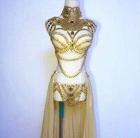 Этап одежда для выпускного Sexy золотыми стразами наряд бюстгальтер короткая юбка Кристалл праздновать вечерние платье певица ночной клуб к