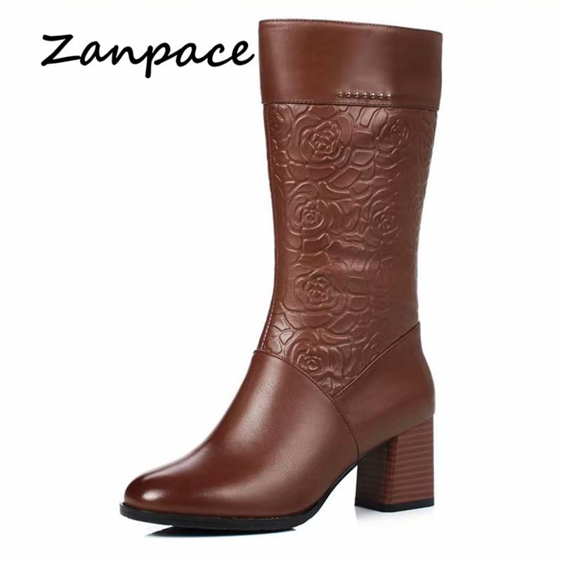7434589a ... niña Botas de tacón alto. Cheap ZANPACE botas de cuero más zapatos de  terciopelo botas de Invierno para mujer botas de