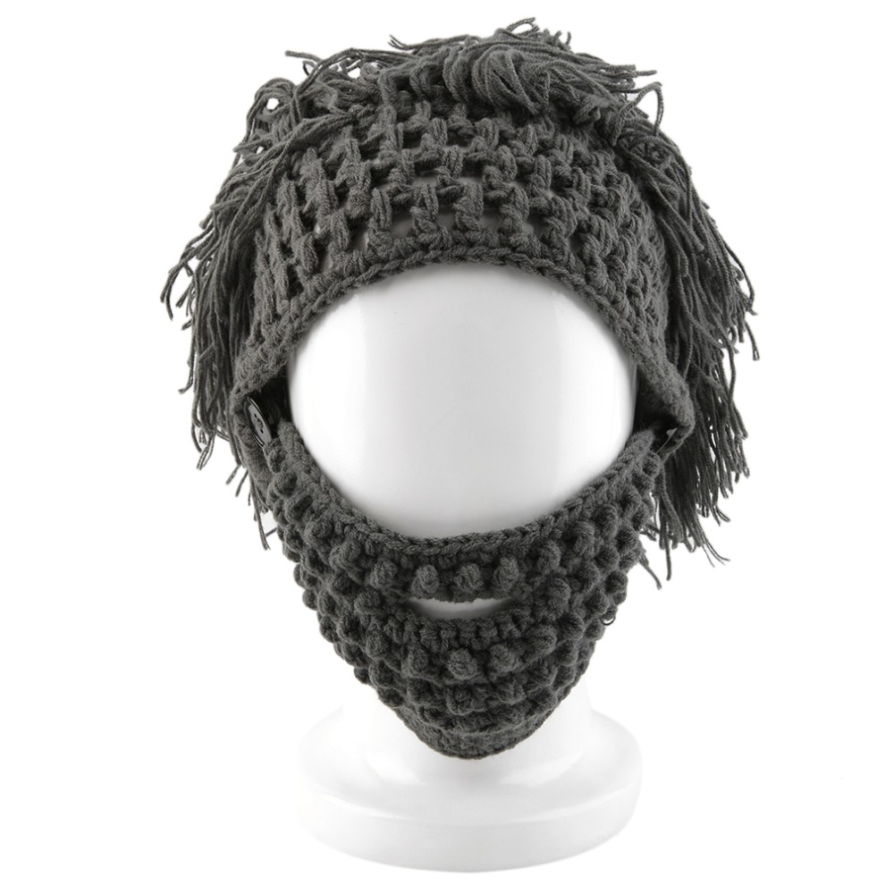 Crochet Knitted Hobo Mad Scientist Caveman Beard Hat Mask Photography Prop with Gray;Black color Apparel Hot caveman dave