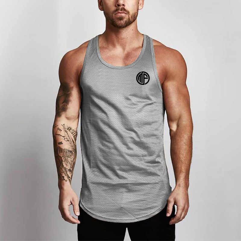 Merek Baru Pakaian Musim Panas Baju Dalam Pria Tank Top Kemeja Binaraga Peralatan Kebugaran Pria Mesh Stringer Tanktop Rompi