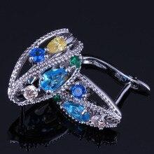 Fancy Flower Multigem Multicolor Yellow Cubic Zirconia 925 Sterling Silver Clip Hoop Huggie Earrings For Women V0939