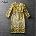 New 2017 Runway High-end Noble Gold Organza Dress Elegant Ladies Embroidery Dresses Women Celebrity Sheath Party Midi Dress