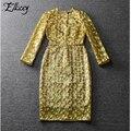Novo 2017 runway high-end noble ouro organza dress senhoras elegantes bordados vestidos mulheres celebridade bainha partido midi dress